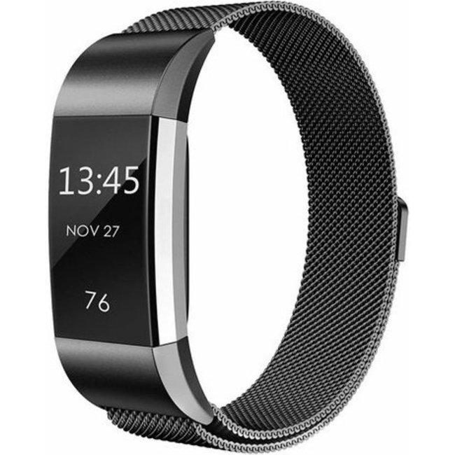 Merk 123watches Fitbit charge 2 milanese band - zwart
