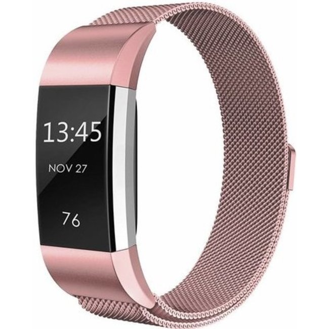 Merk 123watches Fitbit charge 2 milanese band - roze