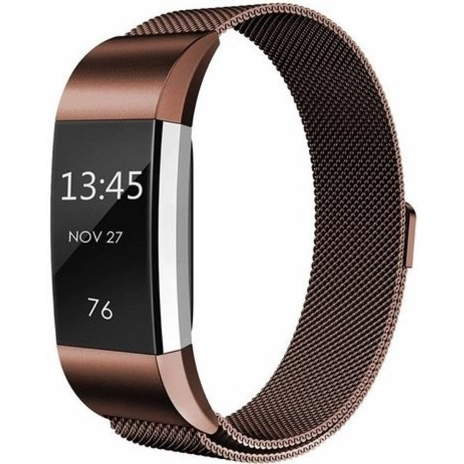 Merk 123watches Fitbit charge 2 milanese band - bruin