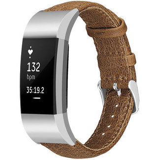 Merk 123watches Fitbit charge 2 genuine leren band - lichtbruin