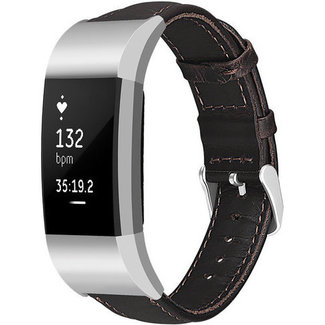 Merk 123watches Fitbit charge 2 genuine leren band - donkerbruin