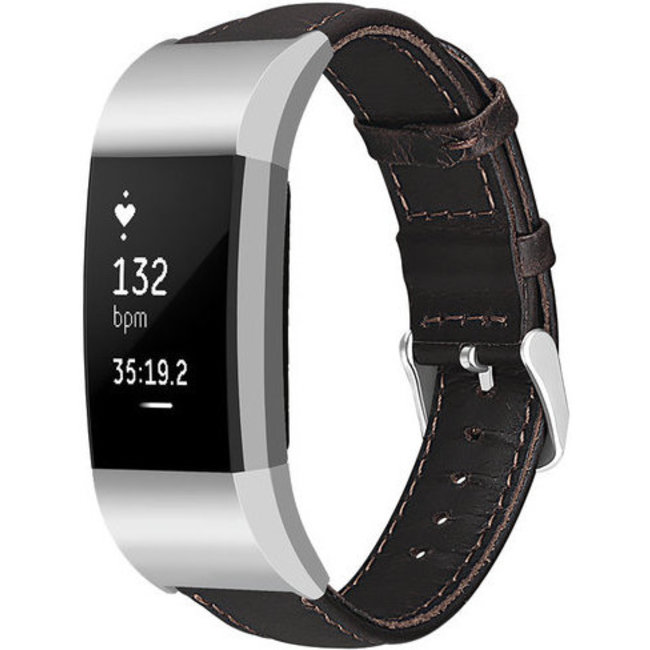 Fitbit charge 2 genuine leren band - donkerbruin