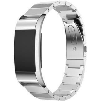 Merk 123watches Fitbit charge 2 stalen schakel band - zilver