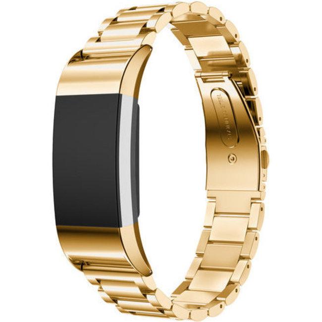 Fitbit charge 2 3 kralen stalen schakel band - goud
