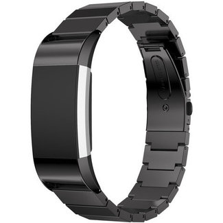 Merk 123watches Fitbit charge 2 stalen schakel band - zwart