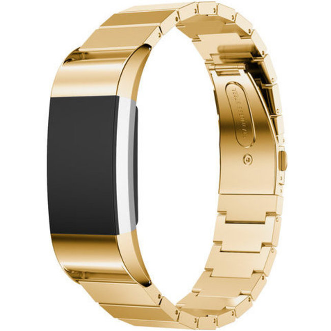 Merk 123watches Fitbit charge 2 stalen schakel band - goud