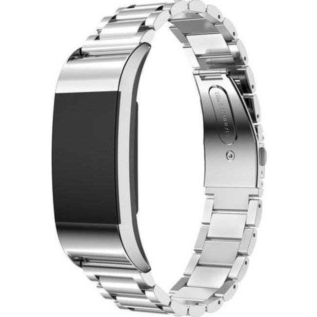 Merk 123watches Fitbit charge 2 3 kralen stalen schakel band - zilver