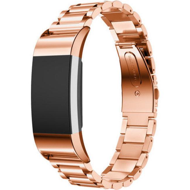 Merk 123watches Fitbit charge 2 3 kralen stalen schakel band - rose goud