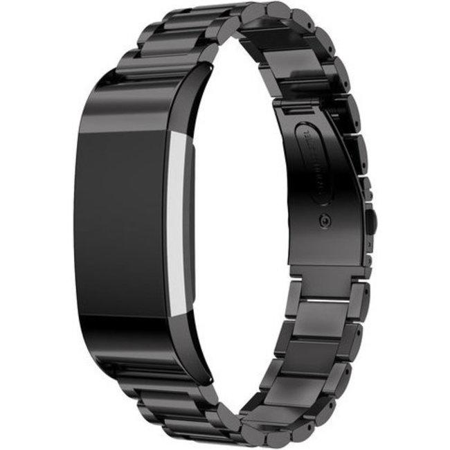 Merk 123watches Fitbit charge 2 3 kralen stalen schakel band - zwart