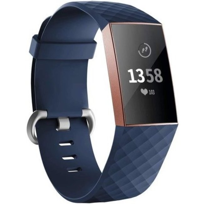 Merk 123watches Fitbit charge 3 & 4 sport wafel band - donkerblauw