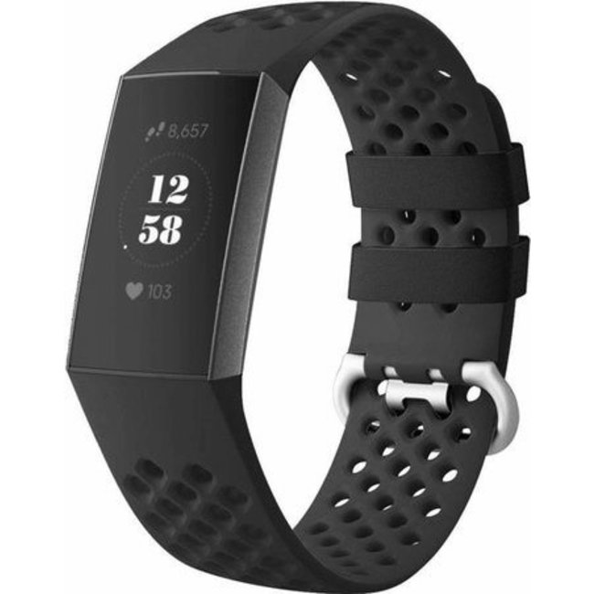 123Watches Fitbit charge 3 & 4 sport point band - zwart