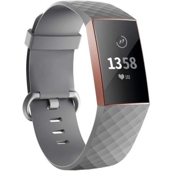 Merk 123watches Fitbit charge 3 & 4 sport wafel band - grijs
