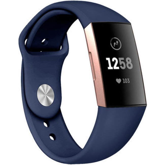 Merk 123watches Fitbit charge 3 & 4 sport silicone band - donkerblauw