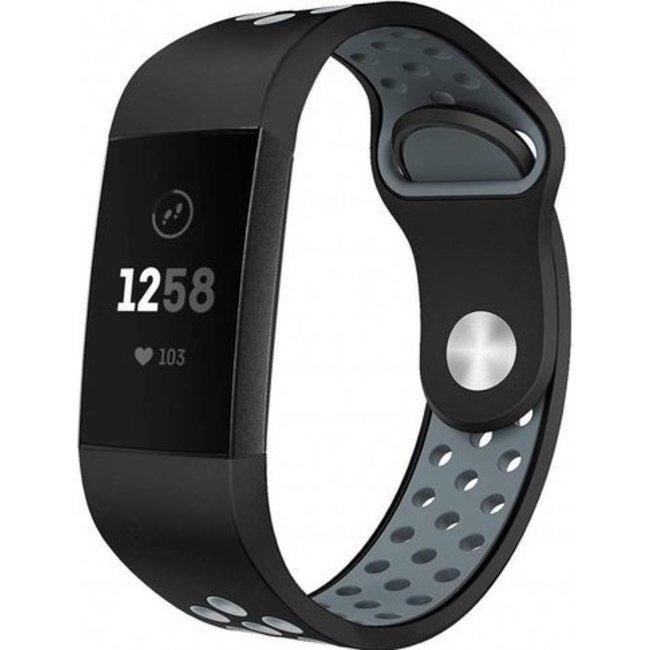 Fitbit charge 3 & 4 sport band - zwart grijs
