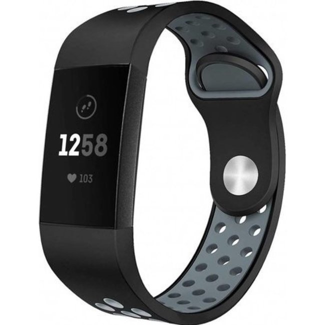 Merk 123watches Fitbit charge 3 & 4 sport band - zwart grijs
