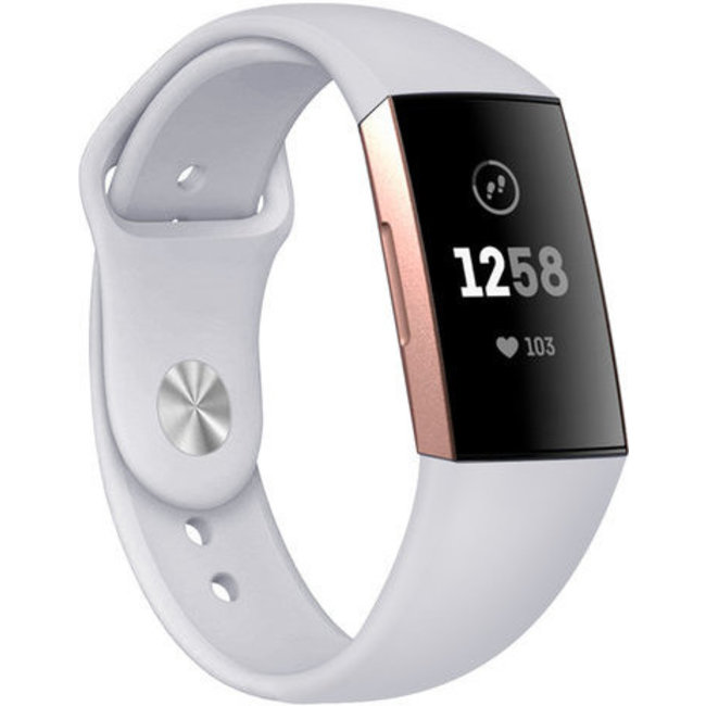 Fitbit charge 3 & 4 sport silicone band - lichtgrijs