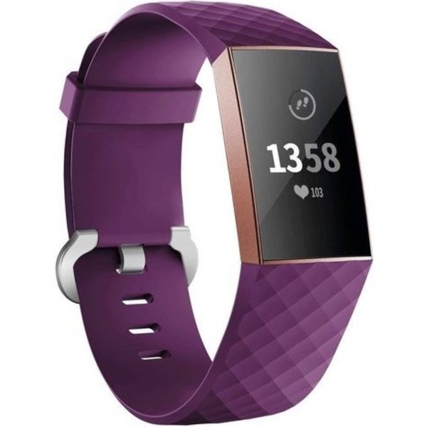123Watches Fitbit charge 3 & 4 sport wafel band - donkerpaars
