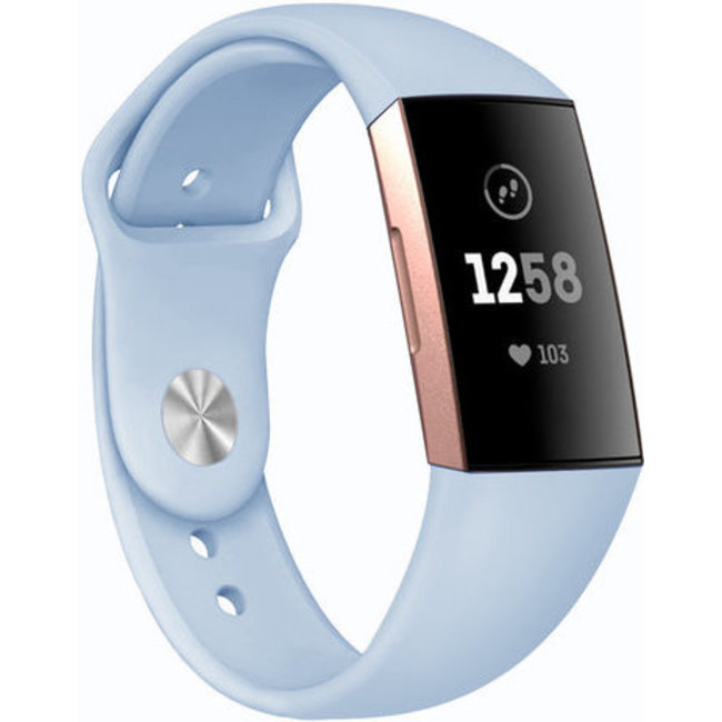 Merk 123watches Fitbit charge 3 & 4 sport silicone band - lichtblauw