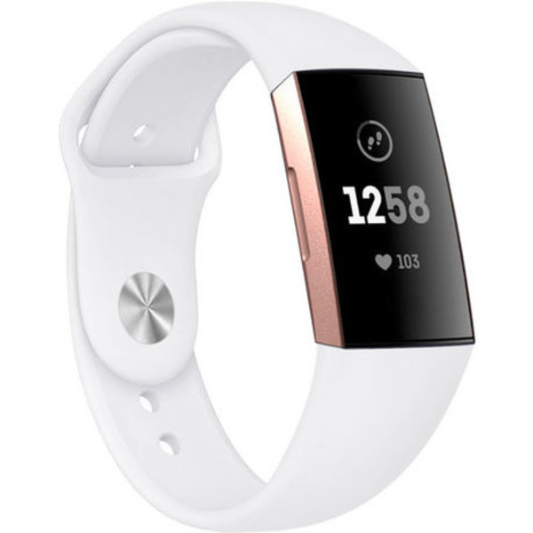 123Watches Fitbit charge 3 & 4 sport silicone bande - blanc
