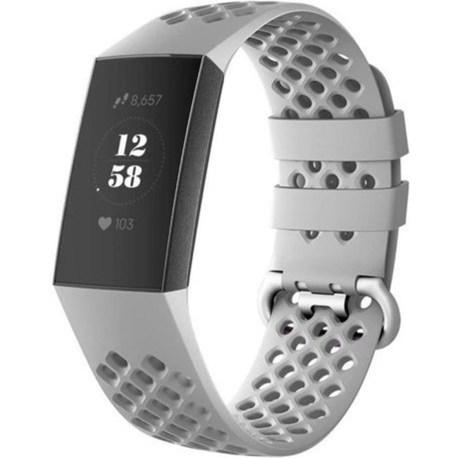 Merk 123watches Fitbit charge 3 & 4 sport point band - grijs