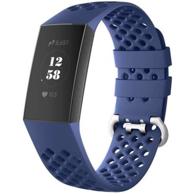 Merk 123watches Fitbit charge 3 & 4 sport point band - donkerblauw