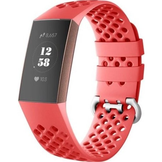 Merk 123watches Fitbit charge 3 & 4 sport point band - rood