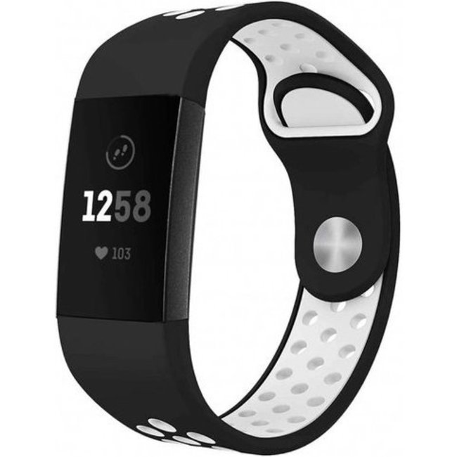 Merk 123watches Fitbit charge 3 & 4 sport band - zwart wit