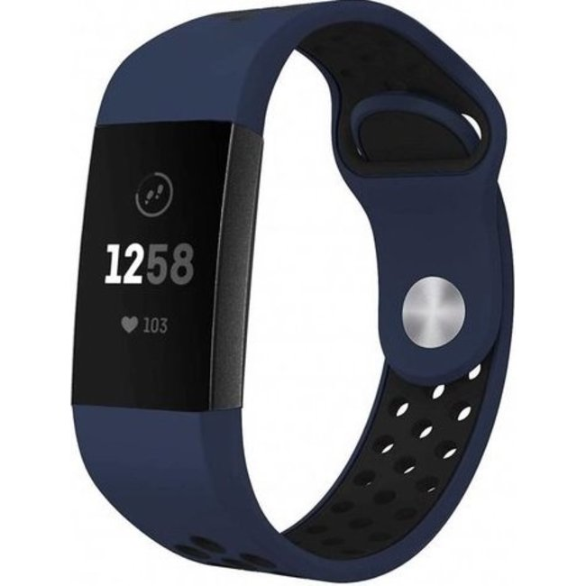 Fitbit charge 3 & 4 sport band - donkerblauw zwart