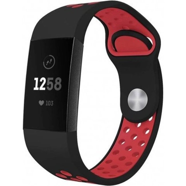 Merk 123watches Fitbit charge 3 & 4 sport band - zwart rood