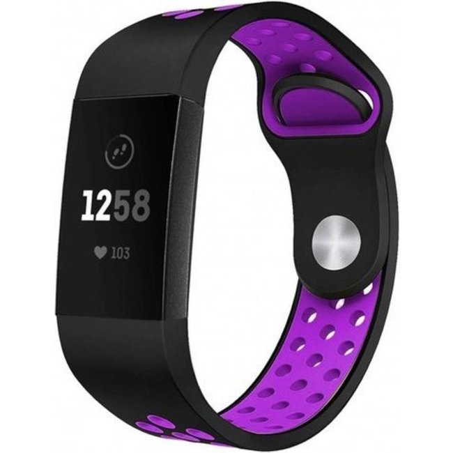 Fitbit charge 3 & 4 sport band - zwart paars