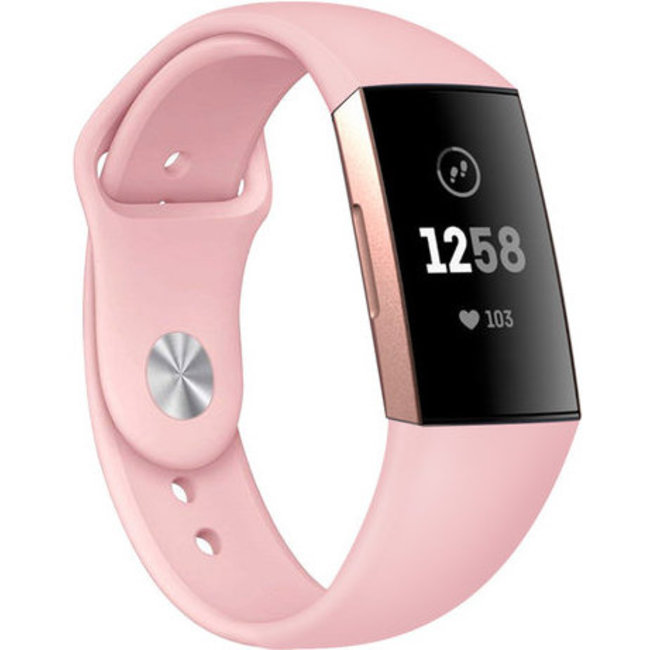 Merk 123watches Fitbit charge 3 & 4 sport silicone band - roze