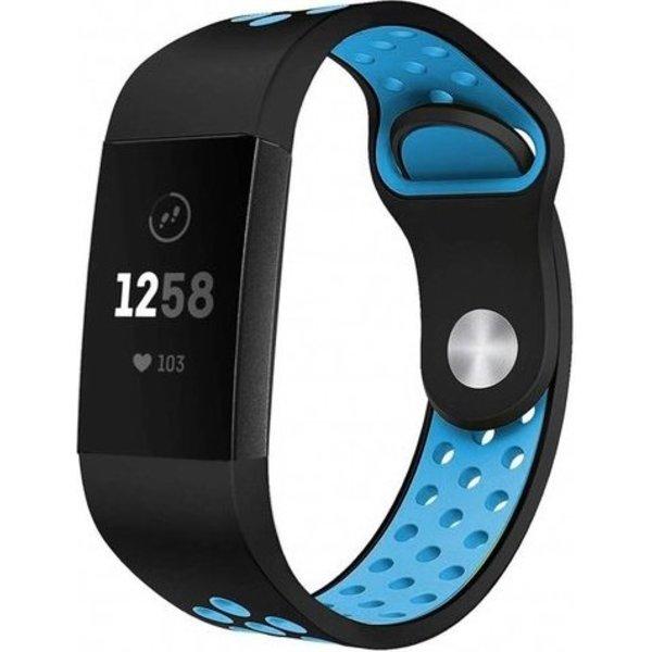 123Watches Fitbit charge 3 & 4 sport band - zwart blauw