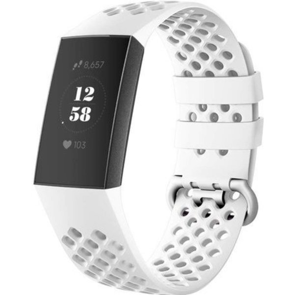 123Watches Fitbit charge 3 & 4 sport point band - white