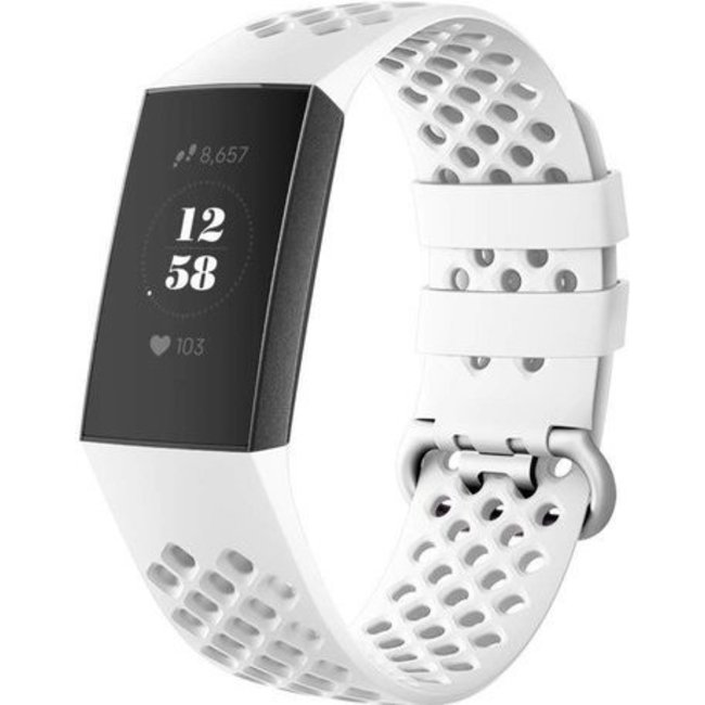 Merk 123watches Fitbit charge 3 & 4 sport point band - wit
