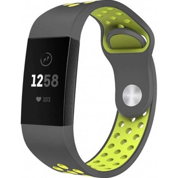 123Watches Fitbit charge 3 & 4 sport band - grijs geel