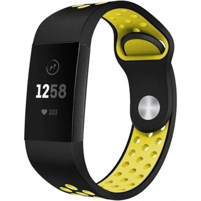 123Watches Fitbit charge 3 & 4 sport band - black yellow
