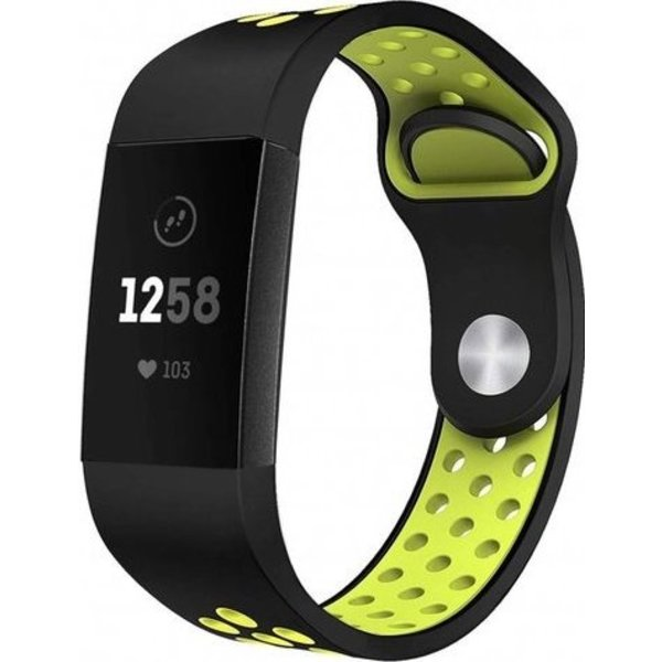 123Watches Fitbit charge 3 & 4 sport band - black green
