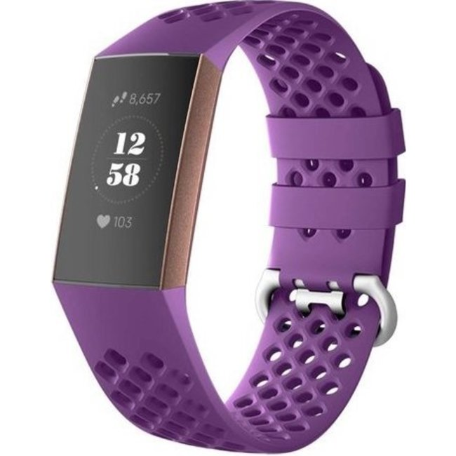 Merk 123watches Fitbit charge 3 & 4 sport point band - donkerpaars