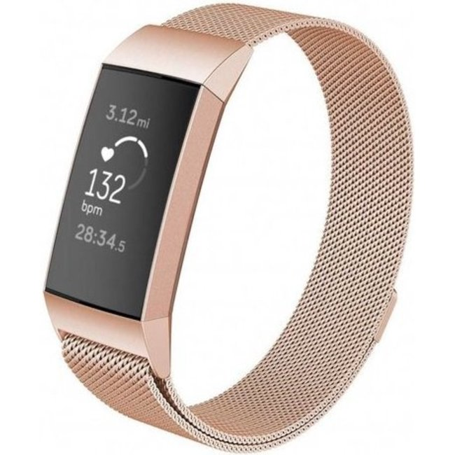 Fitbit charge 3 & 4 milanese band - rose goud