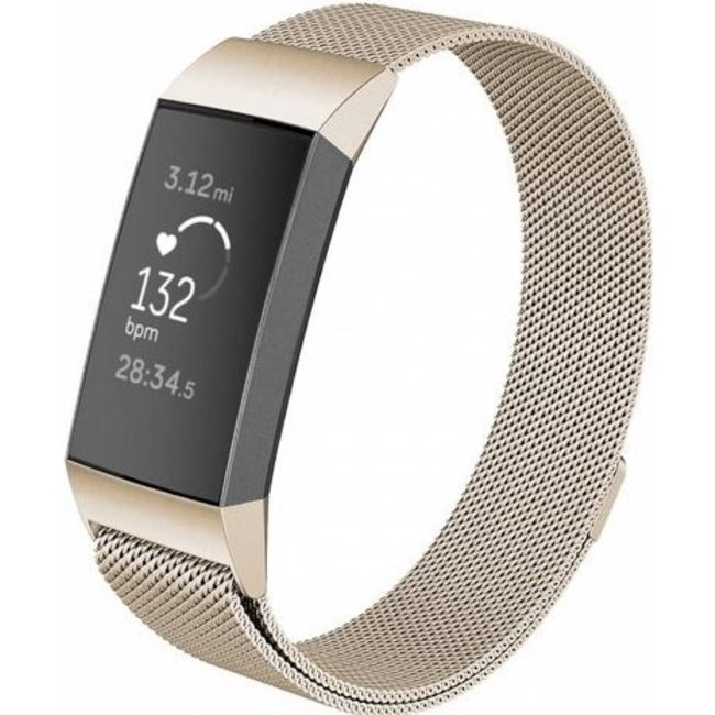 Merk 123watches Fitbit charge 3 & 4 milanese band - champagne