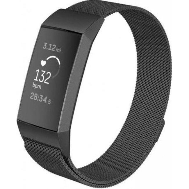 Merk 123watches Fitbit charge 3 & 4 milanese band - zwart
