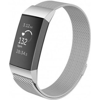 Merk 123watches Fitbit charge 3 & 4 milanese band - silver