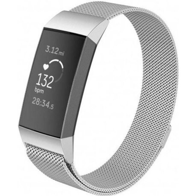 Merk 123watches Fitbit charge 3 & 4 milanese band - zilver