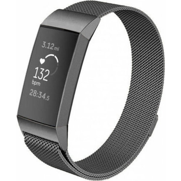 123Watches Fitbit charge 3 & 4 milanese band - gun black