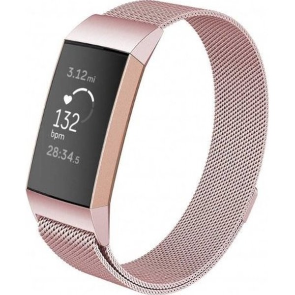123Watches Fitbit charge 3 & 4 milanese band - pink