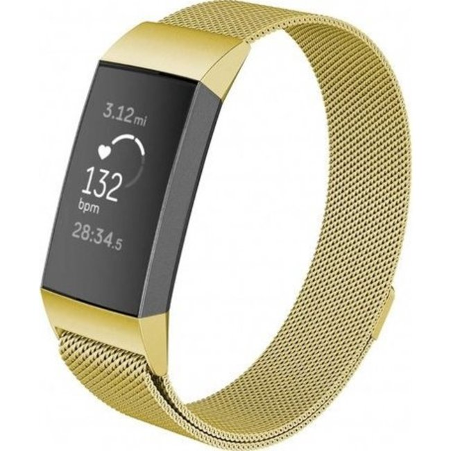 Merk 123watches Fitbit charge 3 & 4 milanese band - goud