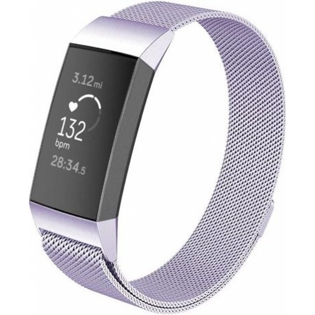 Merk 123watches Fitbit charge 3 & 4 milanese band - lavendel