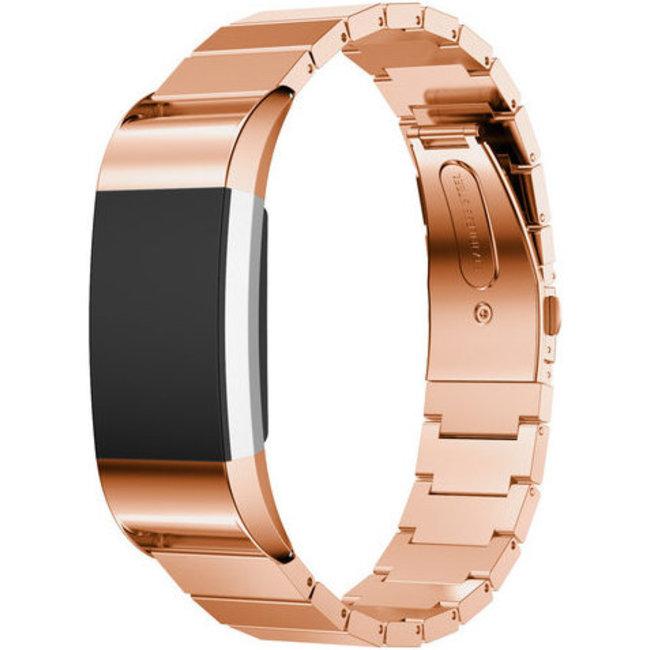 Merk 123watches Fitbit charge 3 & 4 stalen schakel band - rose goud