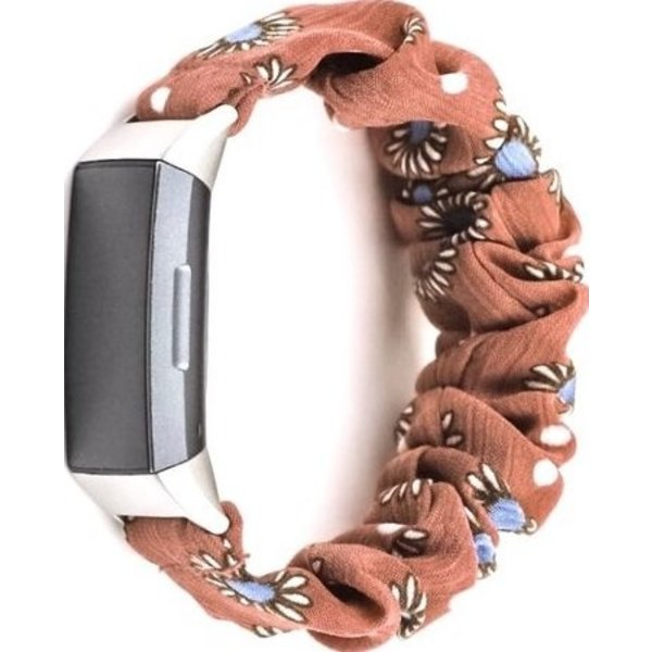 123Watches Fitbit charge 3 & 4  scrunchie band - daisy