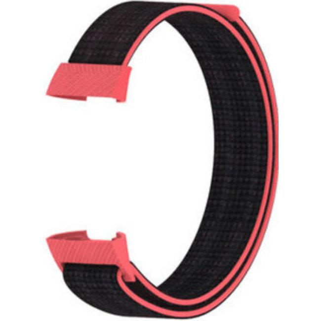 Merk 123watches Fitbit charge 3 & 4 nylon sport band - roze zwart